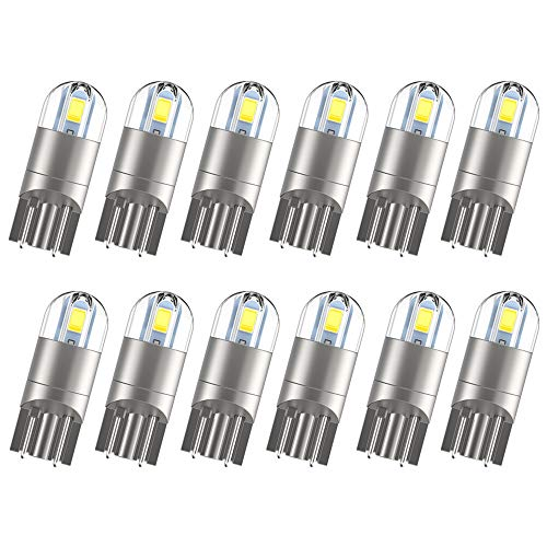 NEW UPGRADED 12pcs T10 194 LED Bulbs, Extremely Bright White Light 168 2825 W5W LED Bulb for Dome Map Courtesy License Plate Light...