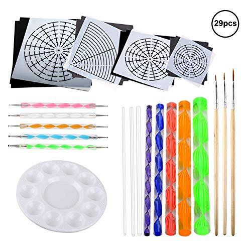 OOTSR 29 piezas kits de pintura Mandala, pincel de pintura, puntos para arte mandala, lienzo/pintura en roca, arte de pared, arte de uñas, niños pintando