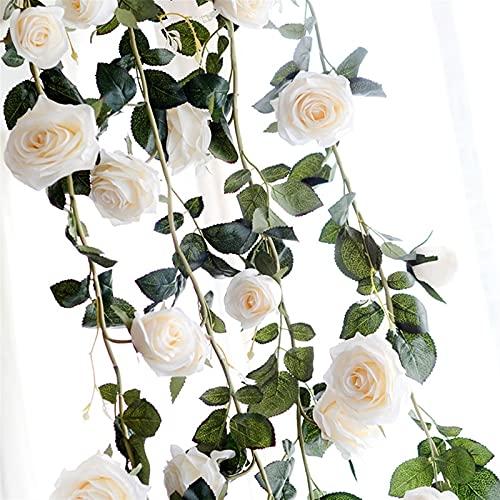 ZHENGLUSM Künstliche Blume Künstliche Blumen Rose Ivy Reben Hochzeit Decor Real Touch Silk Flower Garland String Mit Blätter für Home Hängen Dekor 180cm (Farbe : White)