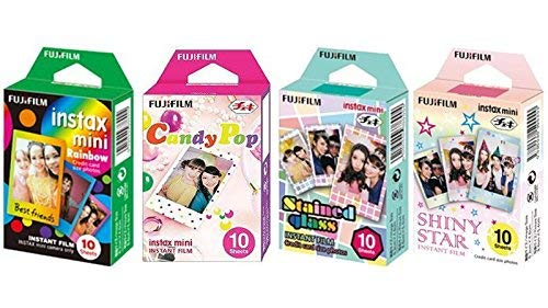 Fujifilm Instax Mini Instant Film Rainbow & Staind Glass & Candy Pop & SHINY STAR Film-10 Blätter X 4 ausgewählten Value Set