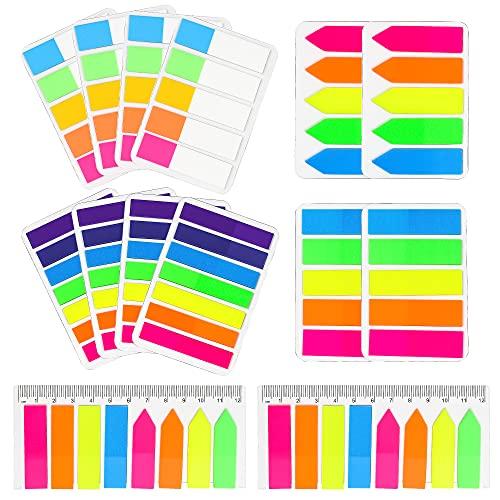 1680 Piezas Notas Adhesivas Índices, Marcadores adhesivos Marcadores de Página de 7 Colores, Etiquetas Colores para Marcar páginas de Libros Páginas Notas
