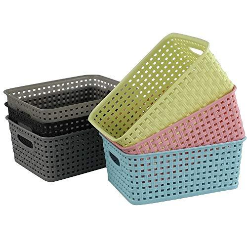 Ucake Plastikkorb Aufbewahrungskörbe Kunststoff Korb Körbe Plastik, 6 Farben, 6 Stück