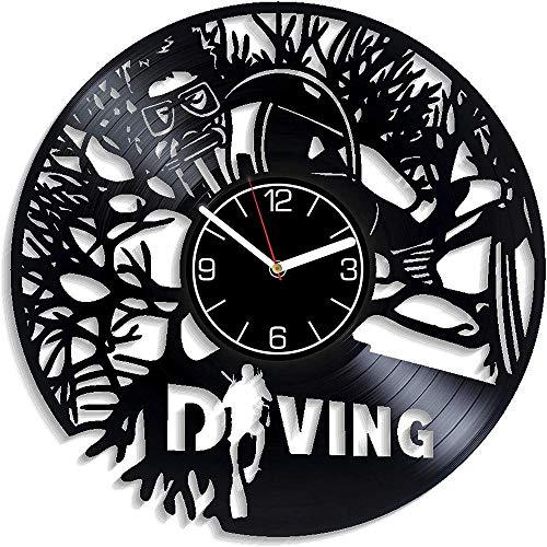 GVSPMOND Disco de Vinilo Reloj de Pared Deportes de Buceo Reloj de Pared Deportes Regalo de los Hombres Reloj de Pared de Buceo Deportes acuáticos Modernos decoración para el hogar 12 Pulgadas