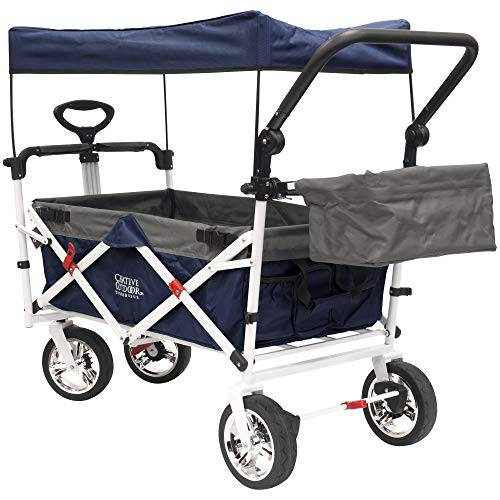 Creative Outdoor Push Pull Collapsible Folding Wagon Stroller Cart for Kids | Sun & Rain Shade | Beach Park Camping Tailgate & Garden | Navy