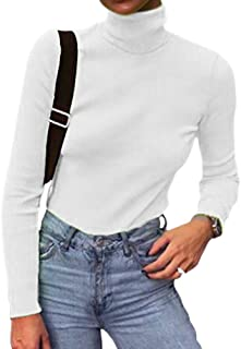Women Long Sleeve Knit Ribbed Turtleneck Layer Tops Neon Green Elastic Shirt Pullovers Slim Fit Sweater(White-L)