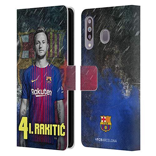 Head Case Designs Oficial FC Barcelona Ivan Rakitic 2017/18 First Team Group 1 Carcasa de Cuero Tipo Libro Compatible con Samsung Galaxy M30 (2019)