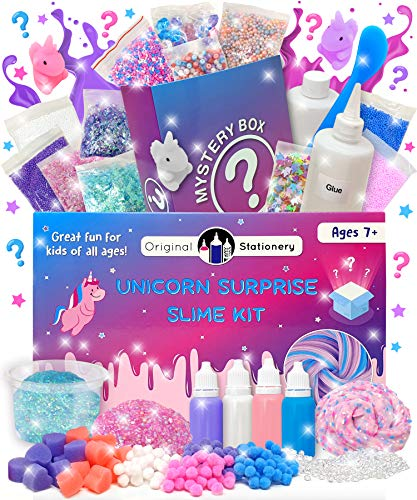 Original Stationery Mystery Slime Kit Surprise - DIY Slime Supplies Kit with Mystery Slime Box Add Ins for Fluffy, Cloud, Crunchy, Slime Activator, Unicorn Stuff, More