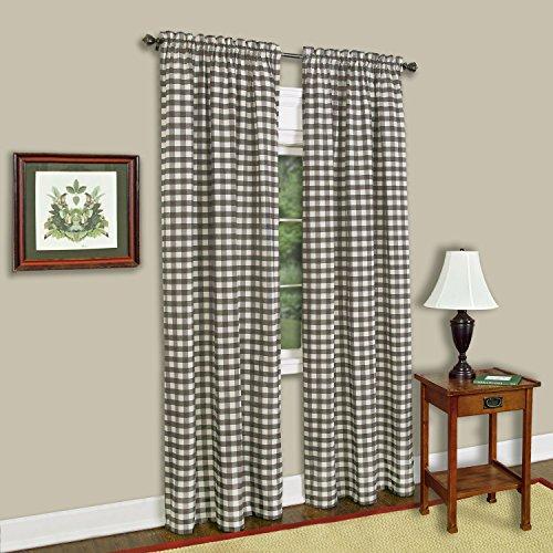 "Achim Home Furnishings Single Panel Buffalo Check Window Curtain, 42"" x 84"", Taupe & Ivory"