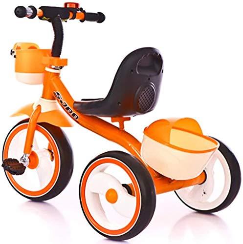 Triciclo infantil para meninos e meninas Pedal de bicicleta infantil Triciclos Equilibrar bicicleta com cesta frontal e música para 2 a 6 anos, 3 rodas Triciclo de caminhada para bebês - Iteração laranja