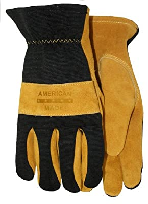 American Made Premium Suede Cowhide Leather Unlined Work Glove with Spandex Back