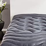SLEEP ZONE Premium Mattress Pad Cover Cooling Overfilled Fluffy Soft Topper Zone Design Upto 21 inch Deep Pocket with Elastic Skirt, Grey, Twin