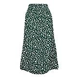 Falda para Mujer,Verde Gasa Estampado De Leopardo Cintura Al
