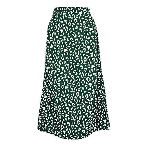 Falda para Mujer,Verde Gasa Estampado De Leopardo Cintura Alta Falda De Tubo Midi con Abertura...