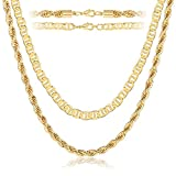 NLCAC 14K Gold Chain Necklace for Women,Layered Gold Mariner Chain and Twist Rope Chain Chunky Choker Collar Necklace 16' 18' (Gold)