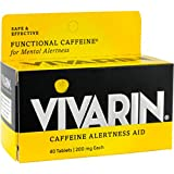 Vivarin Caffeine Alertness Aid, 200mg Tablets, 40 Count, Functional Caffeine for Mental Alertness, Same Caffeine as a Cup of Coffee - Triple Pack