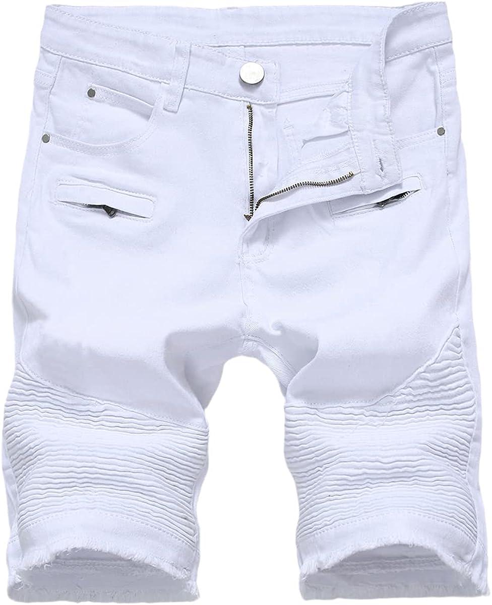 CACLSL Summer Men's Denim Shorts Streetwear Trend Personality Slim Short Jeans White Red Black Men's