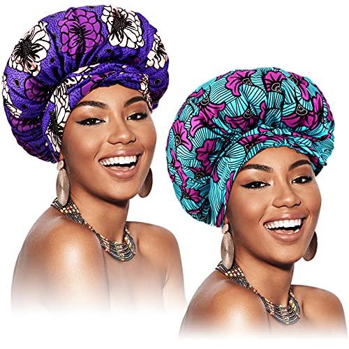 2 Pièces Bonnet en Satin Bonnet de Nuit Bonnet de Sommeil Réglable en Satin de Double Couche Bandeau Imprimé Africain Foulard Bande Élastique Chapeau de Nuit pour Cheveux Bouclés (Élégant)