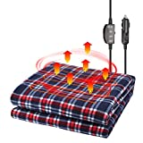 JoyTutus Car Heated Blanket, 12V Fleece Electric Car Blanket, Safe Heating Throw Blanket Plugs in Cigarette Lighter, Portable Heated Travel Blanket for Car SUV RV, Great for Cold Weather, Red/Blue