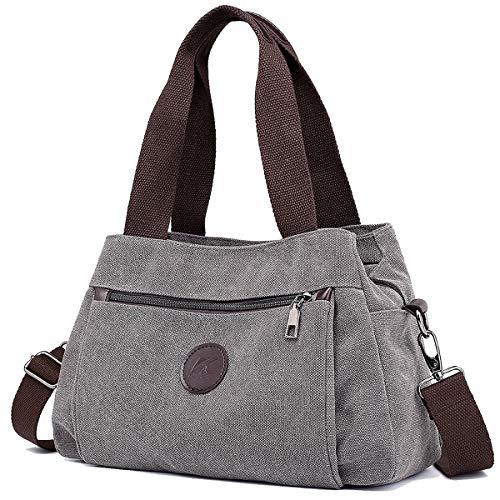 DOURR Hobo Handbags Canvas Crossbody Bag for Women, Multi Compartment Tote Purse Bags (Gray)