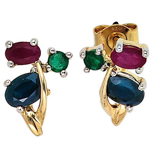 JOBO Damen-Ohrstecker aus 585 Gold mit Rubin Safir Smaragd