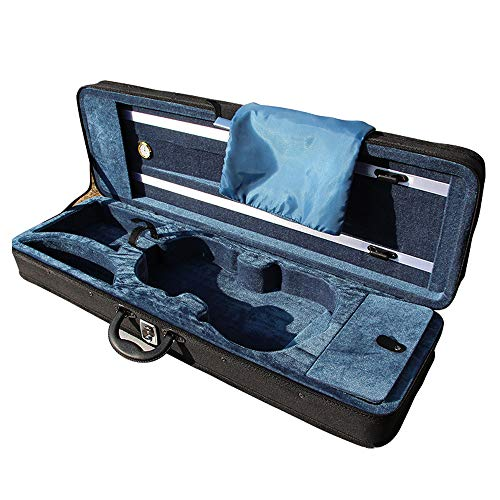 ZJY Professioneller Deluxe 4/4-Geigenkoffer in voller Größe, längliche Form Hartschalenkoffer - Leichtgewicht mit verstellbarem Hygrometer-Gurt, weiches Futter - für die Aufbewahrung