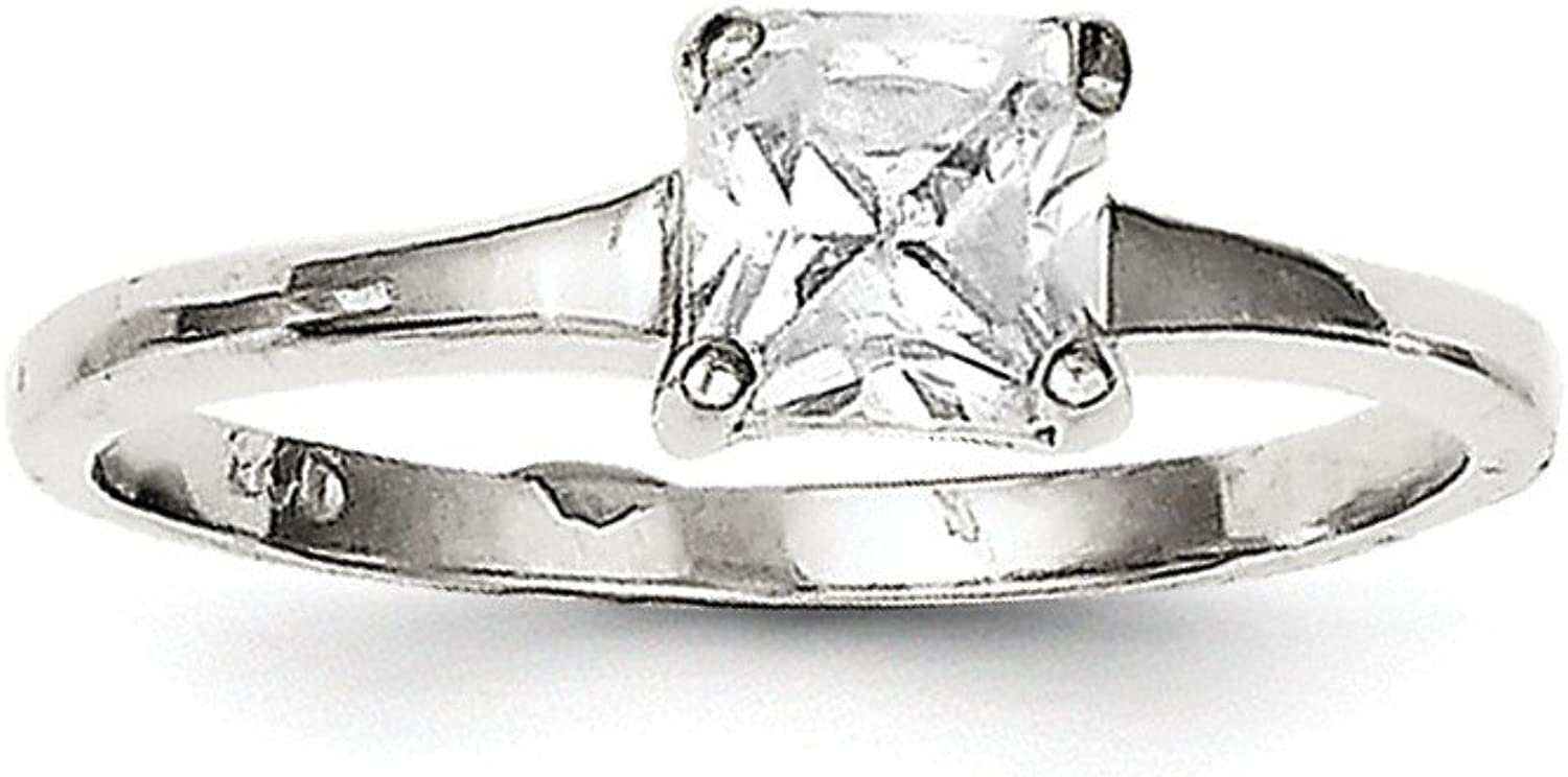 925 Sterling Silver Rhodiumplated Solitaire Princess Cubic Zirconia Engagement Ring