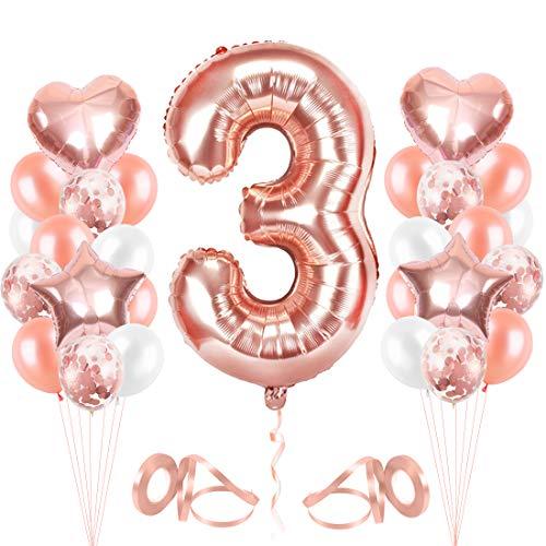 Bluelves Luftballon 3. Geburtstag Rosegold, Geburtstagsdeko 3 Jahr Mädchen, Ballon 3 Geburtstag, Riesen Folienballon 3 Rose Gold, Zahlenballon 3 Deko zum Geburtstag
