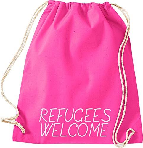 ShirtInStyle Gym Sack Turn-Beutel refugees welcome, Flüchtlinge, Bleiberecht, Farbe Pink