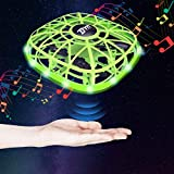 Mini Drone for Kids with LED and Music,Hand Operated Drones,Light Up UFO Flying Ball Drone Toys Gifts for Boys and Girls 6 7 8 9 10 Years Old (Green)