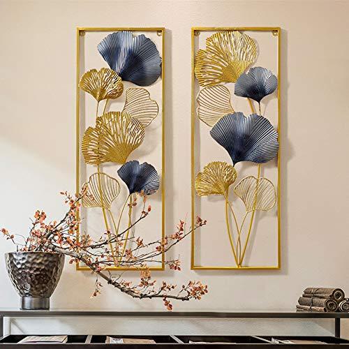 WLHER Metal Leaf Wall Art Decor, Gold Framed Ginkgo Leaves Sculpture Artwork for Nature Home Art Decoration & Kitchen Gifts, Creative Modern Home, 8531 CM2 Pcs