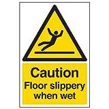 VSafety 63044AU-S - Señal de advertencia de suelo mojado resbaladizo, diseño con texto en inglés'Caution Floor Slippery When Wet', autoadhesiva, vertical, 200mm x 300mm, color negro y amarillo