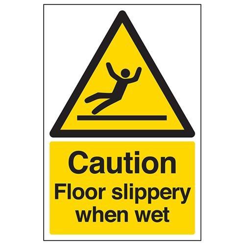 """VSafety 63044AU-S - Señal de advertencia de suelo mojado resbaladizo, diseño con texto en inglés""""Caution Floor Slippery When Wet"""", autoadhesiva, vertical, 200mm x 300mm, color negro y amarillo"""