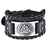Juland Punk Braided Rope Alloy Bracelet Bangle Wristband Genuine Leather Bracelet Mens Leather Cuff Bracelet Viking Totem Wristbands Wide Cuff Leather Wrap Adjustable - Black
