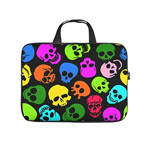 Colourful Calavera Skull Double Sided Printed Laptop Bag Protective Case Waterproof Neoprene Laptop Bag Case Cover Personalized Notebook Bag for Wife Husband