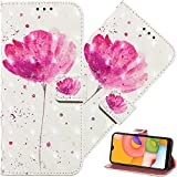 EMAXELER Compatible with Samsung Galaxy A02 Case Premium PU Leather Shockproof Magnetic Flip Folio Wallet Phone Case Notebook Stand Card Slot Cover for Samsung Galaxy A02 YB 3D: A Flower