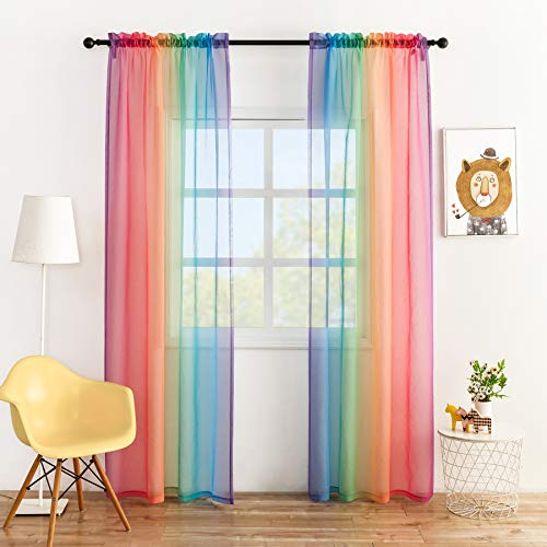 Anjee Rainbow Sheer Curtains 84 inches Long Ombre Colorful Faux Linen Texture 2 Panels Rod Pocket Semi Sheer Gauze Voile Drapes for Kids Bedroom Playrooms Nursery Patio, 52 x 84 Inches