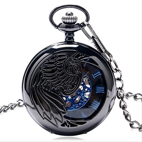 KUANDARGG TaschenuhrClassic Phoenix Mechanischer Handaufzug Taschenuhr Uhren Männer Frauen Mode Steampunk Halskette Kette Blaues Zifferblatt Uhr, Black