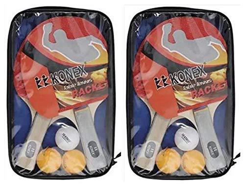 Konex Table Tennis Starter Kit with Case - Set of 4 Rackets 6 Balls