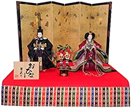 雛人形 平飾り 立雛「金梅刺繍」毛氈飾り KN-H45A-305