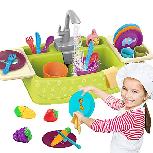 Play Kitchen Sink Toys Set with Running Water for Toddlers, Electric Toddler Kitchen Dishwasher Playing Toy, Pretend Role Toys with Automatic Water Cycle System for Kids Boys Girls