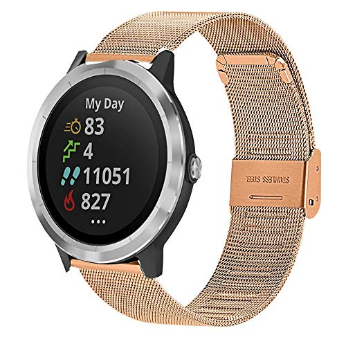 Compatible with Garmin Vivoactive 3 Band,20mm Mesh Woven Stainless Steel Watch Band Compatible with Garmin Vivoactive 3 / Vivoactive 3 Music/Forerunner 645 Music Smartwatch Silver