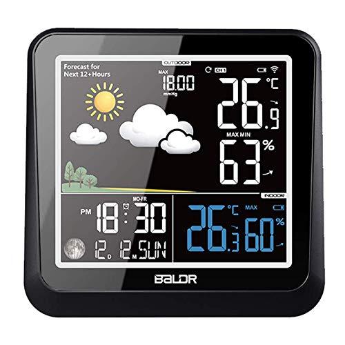 BALDR Wetterstation Funk mit Außensensor mit Innen und Außentemperatur, Thermometer mit Wettervorhersage, deutlich Anzeigebildschirm