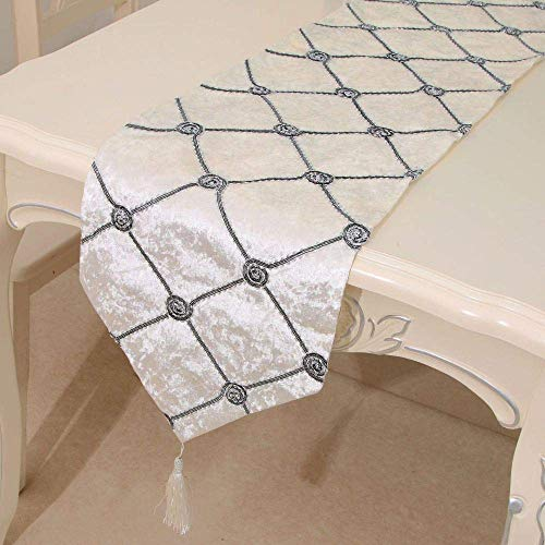 European Modern Cotton Linen Catering Coffee Table Tapestry Cloth and Tassels B 32x180cm