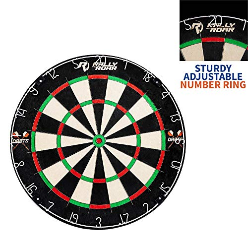 "Dartboard Game with Mounting Brackets, 18"" by Rally and Roar - Bristle Dart Board for Bars, Arcades, Billiard Rooms, Bedroom, and Game Room - Pro, Recreational, or Competition"