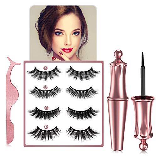 Magnetische Wimpern mit Eyeliner, Magnetischer Eyeliner und Magnet Wimpern-Kit, Wiederverwendbare 3D Wimpern Magnetisch, die Ihnen den Ganzen Tag über Natürliche Schönheit Verleihen