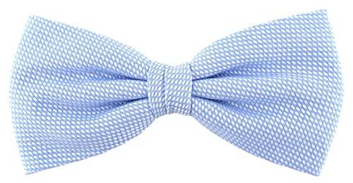TigerTigerTie Fliege Pique in hellblau-weiss gemustert, vorgebundene Schleife 100% Baumwolle + Aufbewahrungsbox
