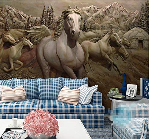 Fotobehang Muurbehang Muralscustom Behang 3D Stereo Relief Paard om Het succes van Acht Lente Kaart Achtergrond Muur Tv Sofa Muurschildering 3D Behang Beibehang 430 * 300cm