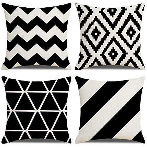 LAXEUYO Fundas Cojines 45x45cm Negro Hogar Algodón Lino Funda de Cojín Cojines Decorativos para Sofa Estilo Geométrico