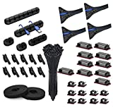 141pcs Cord Management Organizer Kit 4 Cable Sleeve Split,25 Self Adhesive Cable Clip Holder,10pcs and 2 Roll Self Adhesive tie and 100 Fastening Cable Ties for TV Office Home etc (Black)