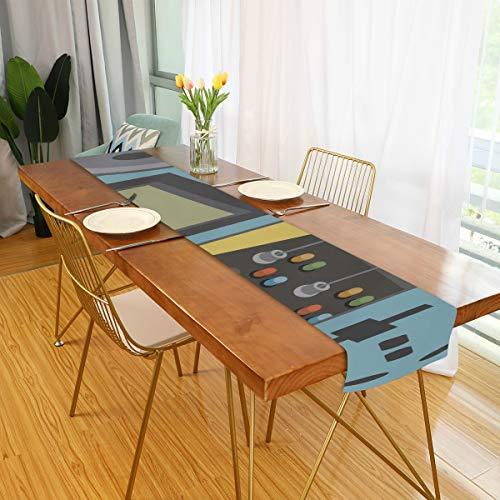 TV Table Runner Consola de Videojuegos clasica Iconos de Entretenimiento Corredores para Mesa Comedor Camino de Mesa para Cocina de Oficina Comedor Fiesta de Boda Decoracion de Mesa de cafe para el h